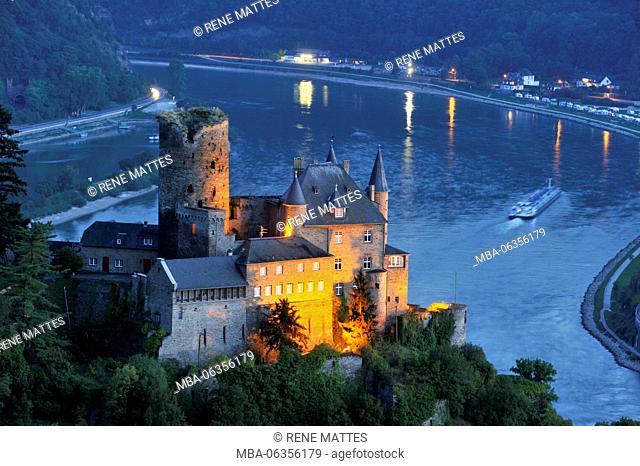 Germany, Rhineland-Palatinate, Sankt-Goarshausen, (Burg) castle of Katz, the romantic Rhine listed as World Heritage by UNESCO