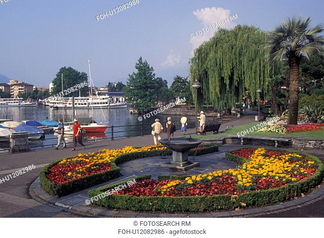 Switzerland, Ticino, Locarno, Lakefront park along Lake Maggiore in the city of Locarno