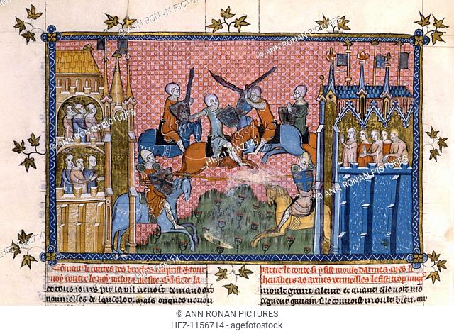 Scene from the Romance of Lancelot of the Lake. The Count des Broches in combat with King Nabor and Sir Gawain. In the centre mounted knights in armour are...