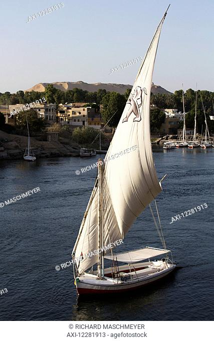 Falucca sailing the Nile River; Aswan, Egypt