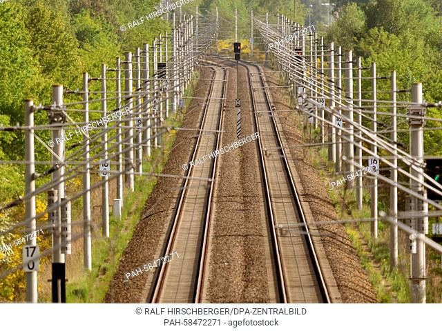 Empty railway tracks, photographed near Ludwigsfelde, Germany, 19 May 2015. The German train drivers' union GDL is launching an open-ended strike