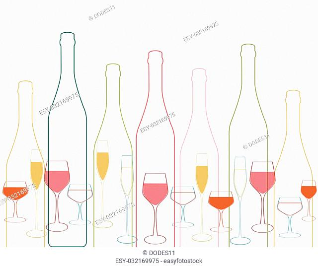 Wine bottle colorful.Background with wine bottles and glasses.Bottles and glass silhouette vector