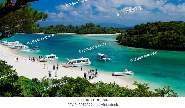 Ishigaki, Japan, 01 October 2018:-Kabira Bay in ishigaki island of Japan