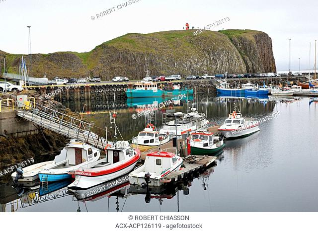 Fishing boats in the Stykkisholmur harbour on the northern tip of the Snaefellsnes Peninsula, Iceland