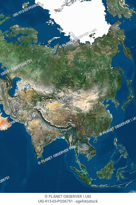 Satellite view of Asia with Arctic ice cap. This image was compiled from data acquired by Landsat 7 & 8 satellites