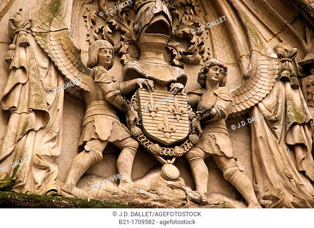 France, Aquitaine, Gironde, detail on 'Porte Cailhau', 15th Century  , at Bordeaux