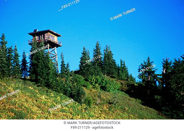 Mountain fire lookout. Mount Baker-Snoqualmie National Forest. Washington. USA