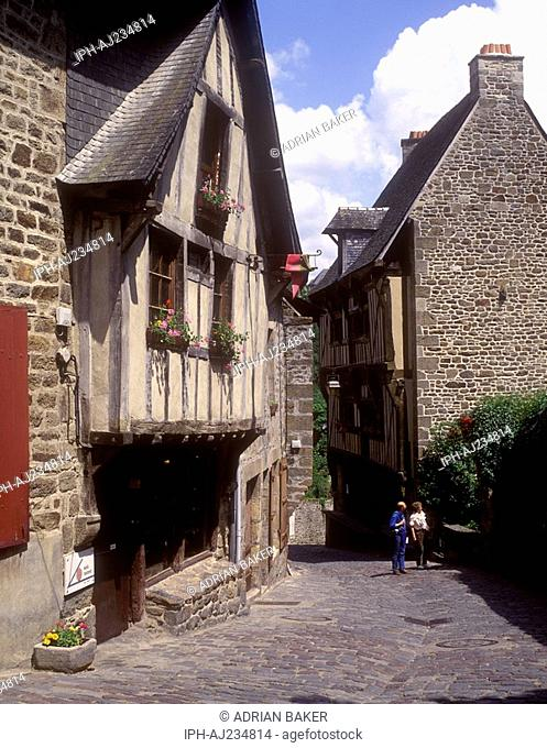 Street of quaint timber framed houses in the old town of Dinan