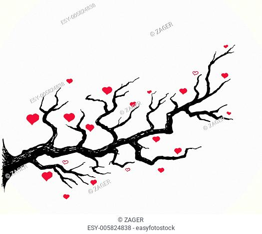 Cherry Blossom and Hearts Illustration