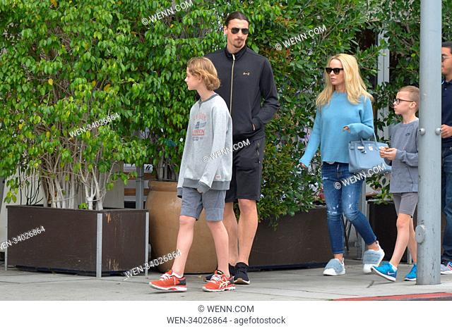 Zlatan Ibrahimovic out with the whole family in Beverly Hill, California, where they walked three blocks to 'E. Baldi', the LA Galaxy star seemed in great...