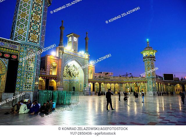 One of the courtyards of Fatima Masumeh Shrine, Shiah Islam holy place in Qom city, capital of Qom Province of Iran