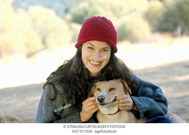 Smiling woman with smiling dog
