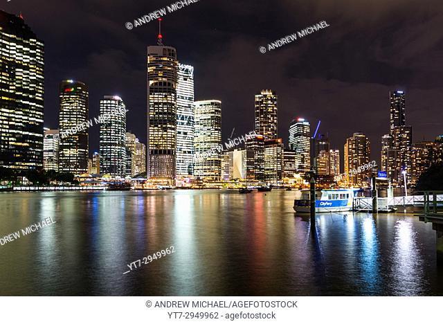 Brisbane city skyline after dark. Queensland. Australia