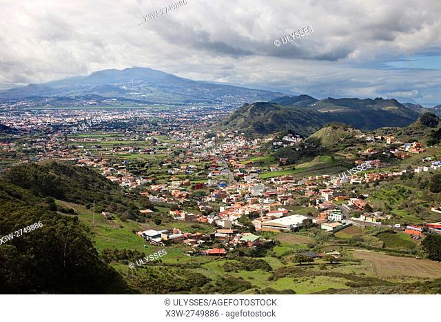 View of La Laguna, Mirador de Jardina, Anaga Mountains, Parque Rural Anaga, Tenerife island, Canary archipelago, Spain, Europe