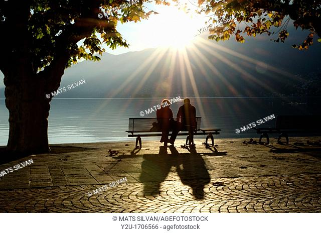 Couple on a bench between two trees on the lake front with shadows and sunbeam