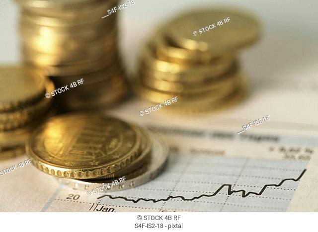 50-Eurocent coins next to an index showing the cash value, selective focus