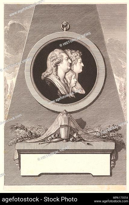 Portrait of Louis XVI, Marie Antoinette and The Dauphin. Artist: Augustin de Saint-Aubin (French, Paris 1736-1807 Paris); Artist: After Piat Joseph Sauvage...