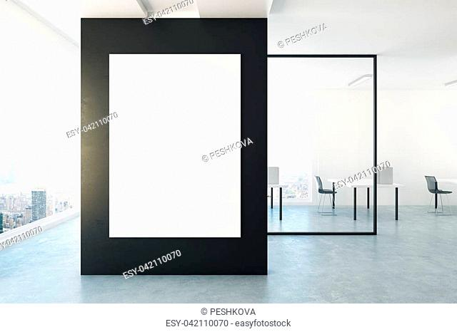 Contemporary office interior with empty banner on wall. Mock up, 3D Rendering