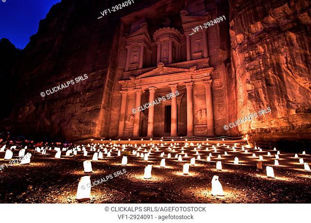 The Treasury, Petra By Night. An Ancient City of Petra, Al Khazneh, Jordan