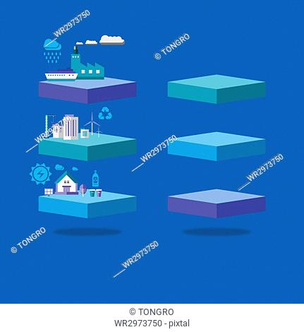 Infographic diagrams with elements related to environmental protection