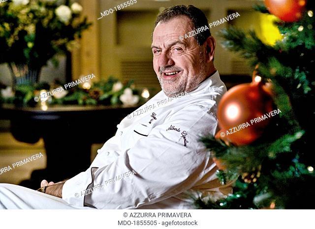 Italian chef Gianfranco Vissani posing smiling for a photocall shooted at his restaurant. Terni (Italy), 29th November 2013