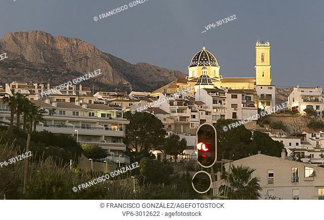 Views of Altea dusk with its church Our Lady of Consuelo standing out in the plane