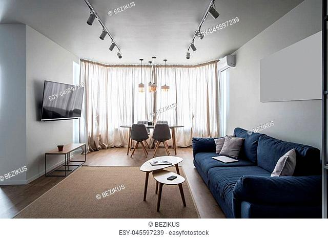 Trendy modern interior with white walls and a parquet with a carpet on the floor. There is a blue sofa with pillows, wooden tables, chairs, TV, stand with plant