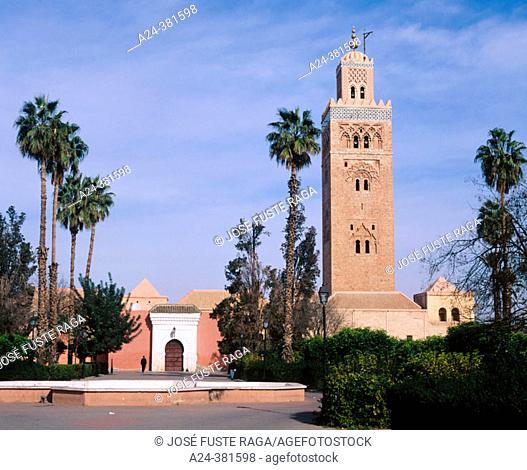 Koutoubia Mosque minaret. Marrakech, Morocco