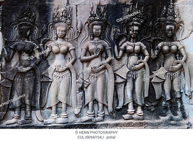 Wall relief at ancient temple of Angkor Wat, Siem Reap, Cambodia