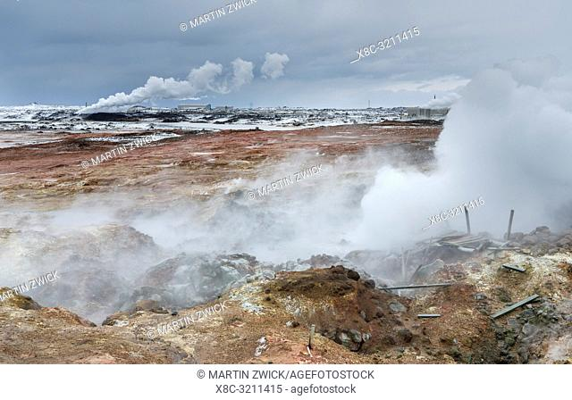 Geothermal area Gunnuhver on Reykjanes peninsula during winter. Northern Europe, Scandinavia, Iceland, February