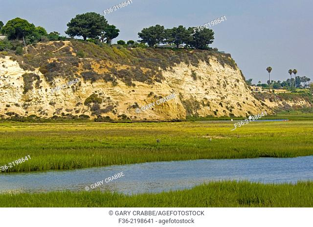 Cliffs above the Upper Newport Bay Ecological Reserve, Newport Beach, Orange County, California