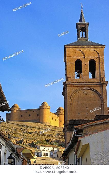 Nuestra senora de la anunciacion church, castle, La Calahorra, Granada province, Andalusia, Spain