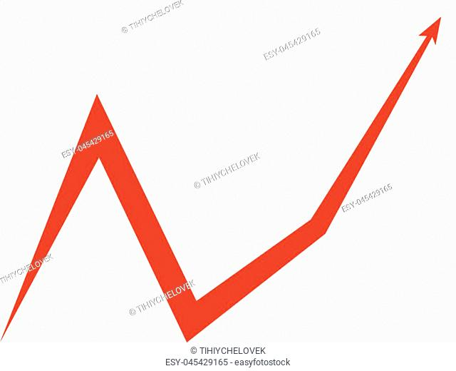 red arrow graph up, on white background