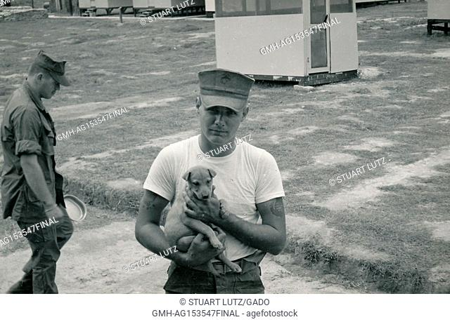 United States Marine Corps soldier posing with a puppy dog at a military base during the Vietnam War, 1968