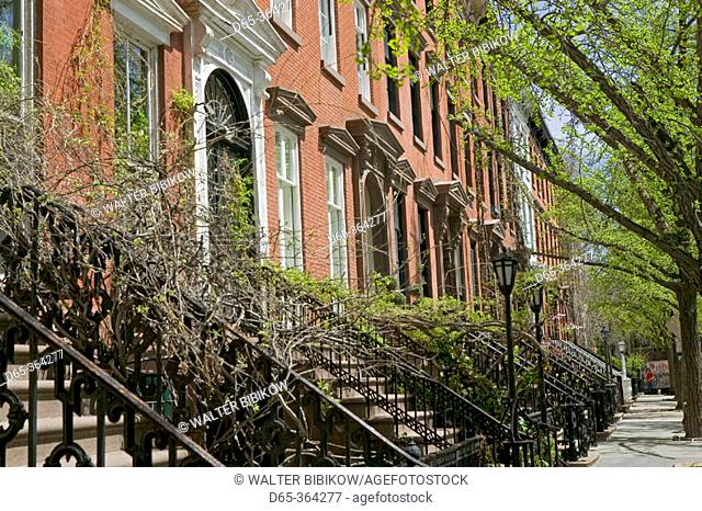 St. Luke's Place. Brownstone buildings at springtime. Greenwich Village. Manhattan. New York city. USA