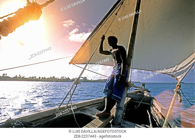 sailing traditional dhow. lamu