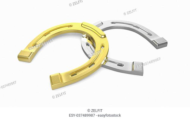 Two horseshoes gold and silver isolated on white background