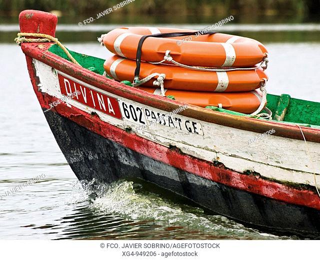 Life preservers on the bow of a fishing boat, La Albufera, El Palmar, Valencia, Comunidad Valenciana, Spain