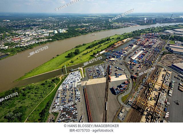 Aerial view, Port of Duisburg company Logport with car parking, herringbone pattern, Duisburg, Ruhr district, North Rhine-Westphalia, Germany