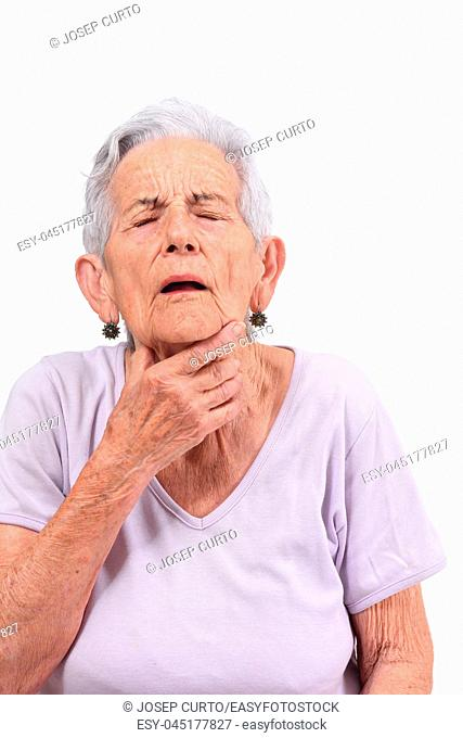 senior woman with neck on white background