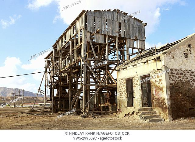 Remains of the salt mining engineering loading bays at Pedra de Lume, on the east coast of Sal Island, Salinas, Cape Verde, Africa