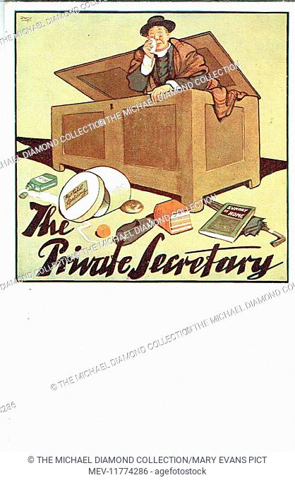 """Promotional postcard for The Private Secretary by Charles Hawtrey, from """"Der B ibliothekar"""" by Gustav Von Moser (1878). First produced Theatre Royal"""