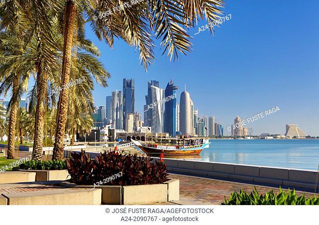 Qatar , Doha City, The Corniche, west bay skyline