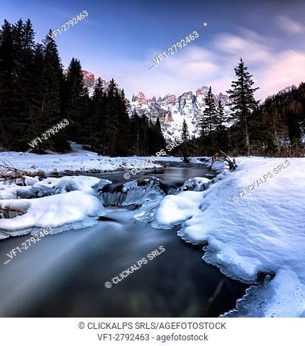 Winter sunset illuminates the high peaks. Venagia Valley Panaveggio Natural Park Dolomites Trentino Alto Adige Italy Europe