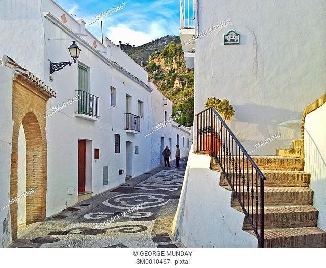 Street Scene in Frigiliana, Near Nerja, Malaga, Spain