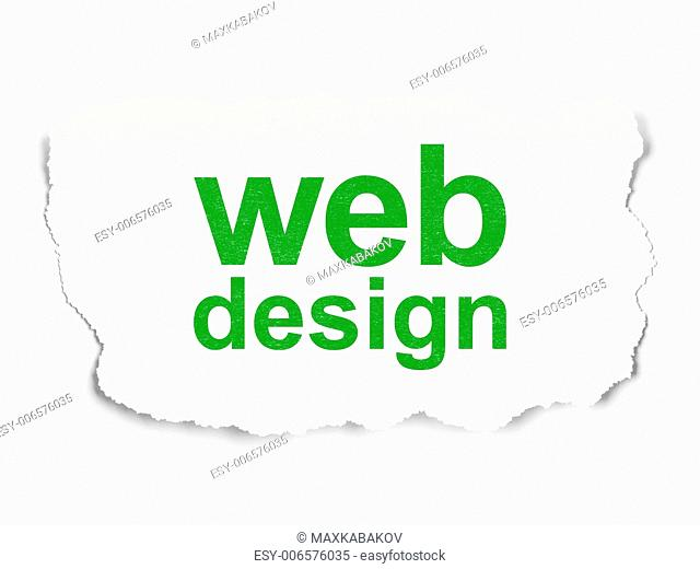 Web development concept: torn paper with words Web Design on Paper background, 3d render