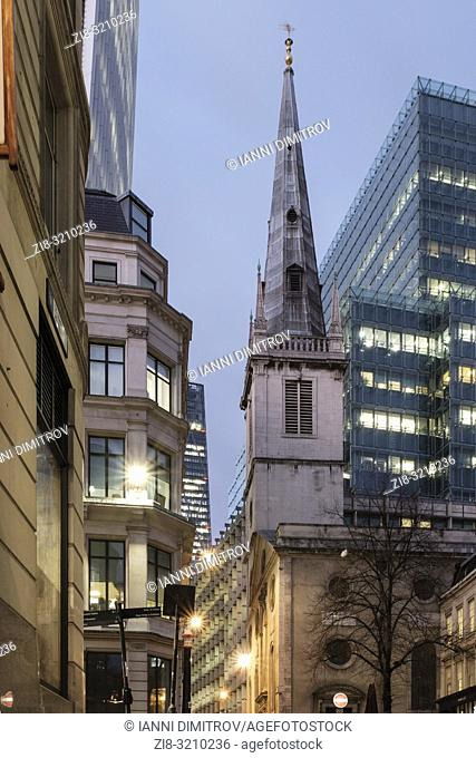 England, City of London,St Mary at Hill- contemporary office buildings and Saint Margaret Pattens Church of england at night