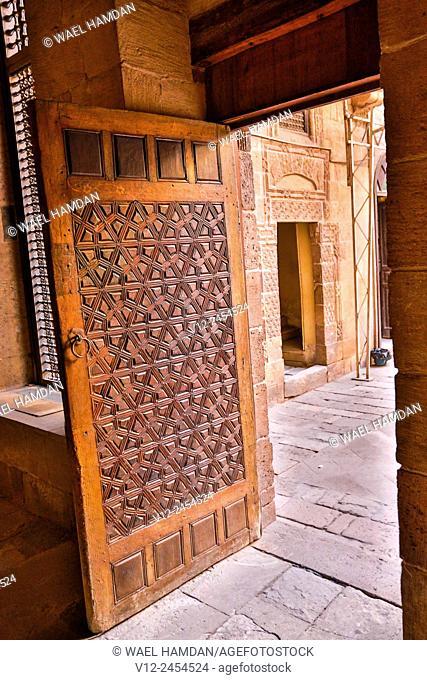 Wooden door inside Arabic house in Cairo, Egypt