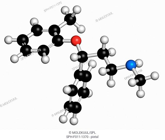 Atomoxetine attention-deficit hyperactivity disorder (ADHD) drug, chemical structure. Atoms are represented as spheres with conventional color coding: hydrogen...