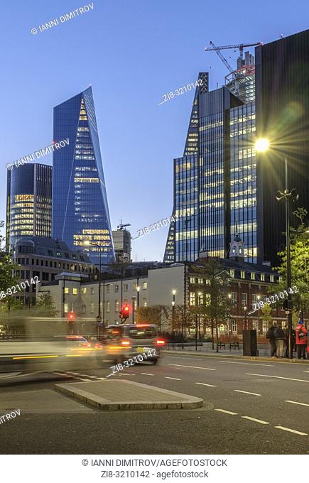 England, City of London, View from the corner of Minories and Aldgate High Street of the modern high rise office buildings